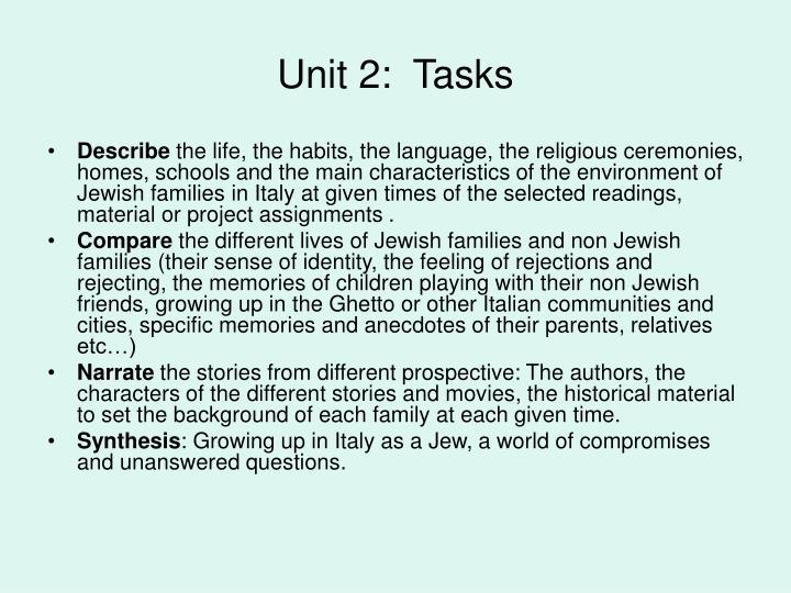 Unit 2:  Tasks