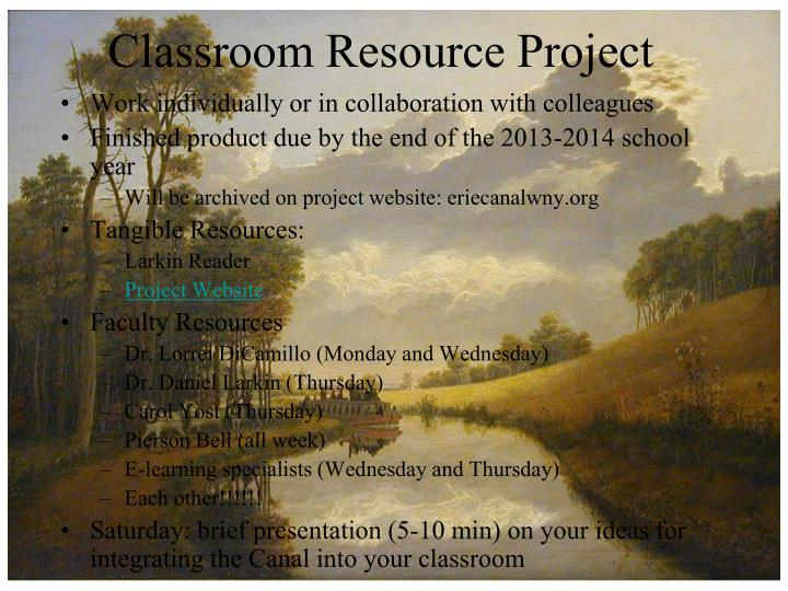 Classroom Resource Project