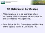 ar statement of certification