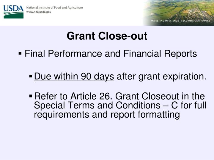 Grant Close-out