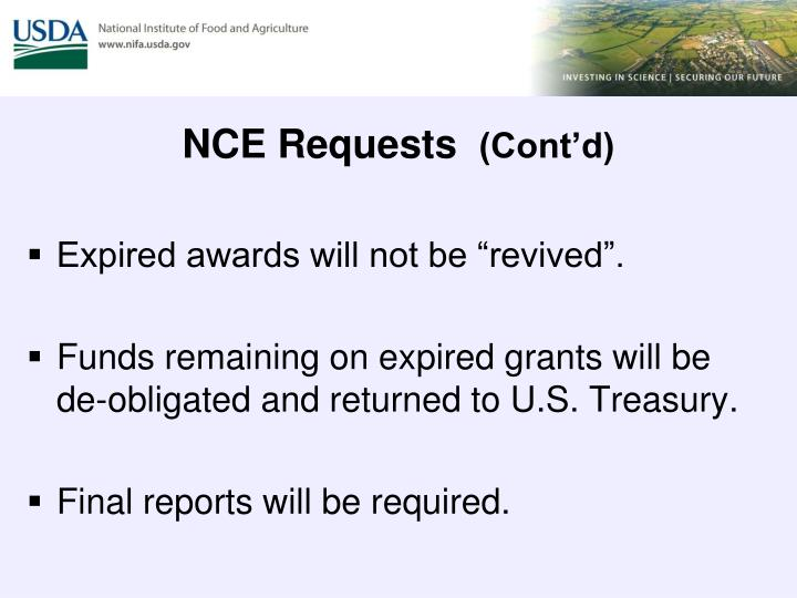 NCE Requests