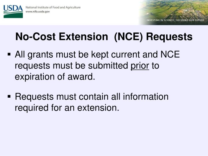 No-Cost Extension  (NCE) Requests