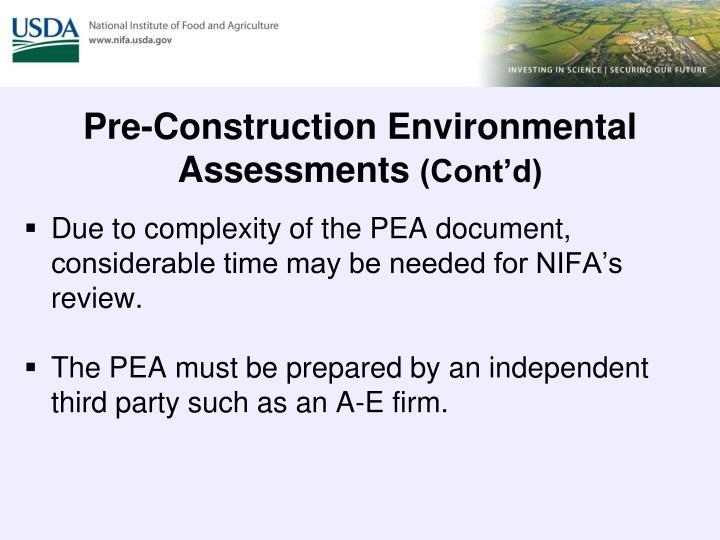 Pre-Construction Environmental Assessments