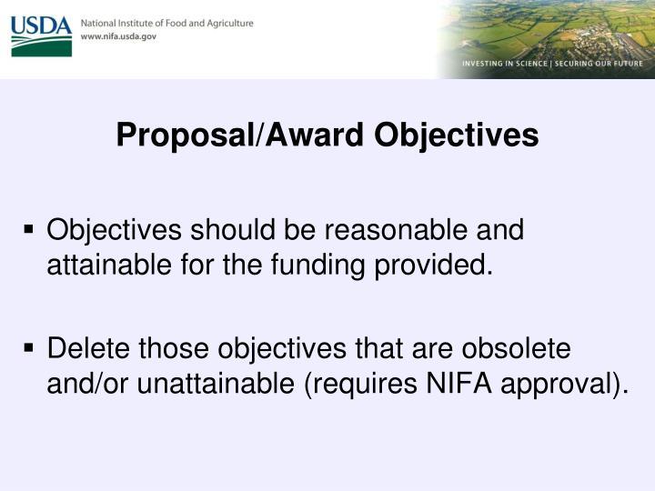 Proposal/Award Objectives