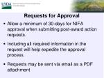 requests for approval