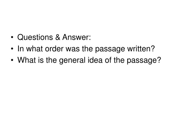 Questions & Answer: