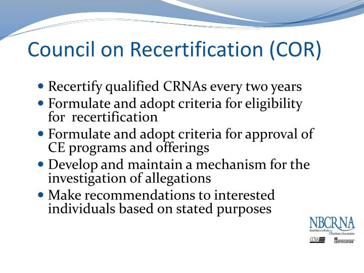 Council on Recertification (COR)