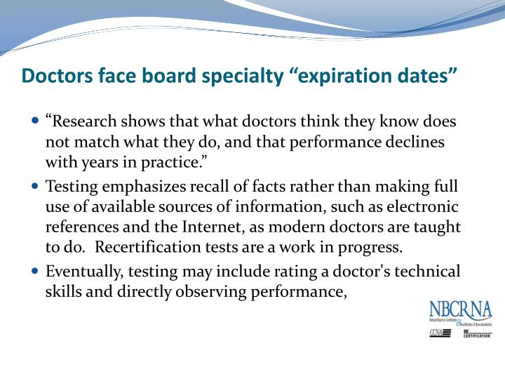 "Doctors face board specialty ""expiration dates"""