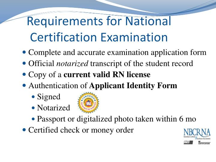 Requirements for National Certification Examination