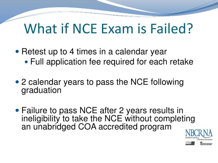 What if NCE Exam is Failed?