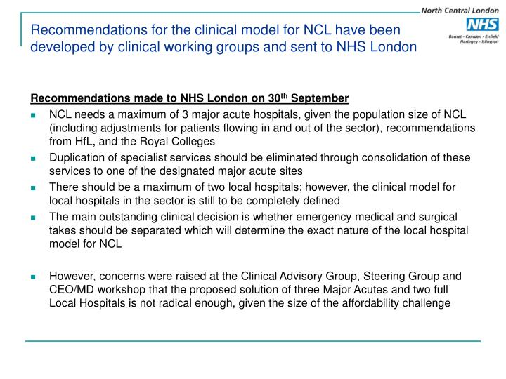 Recommendations for the clinical model for NCL have been