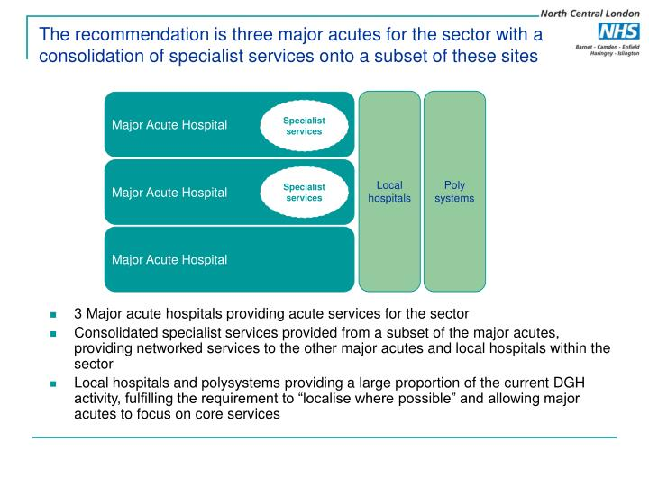 The recommendation is three major acutes for the sector with a consolidation of specialist services onto a subset of these sites