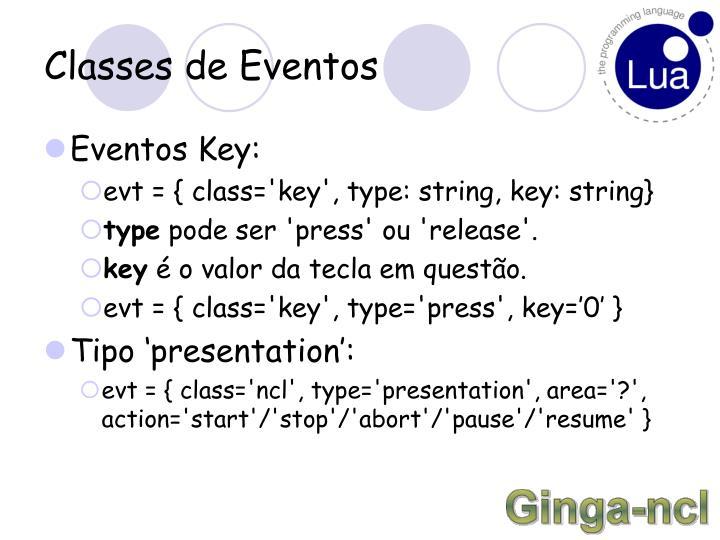 Classes de Eventos