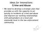 ideas for innovations crime and abuse