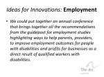 ideas for innovations employment