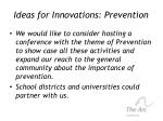 ideas for innovations prevention