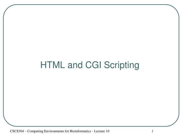 Html and cgi scripting