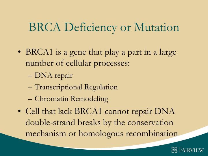 BRCA Deficiency or Mutation