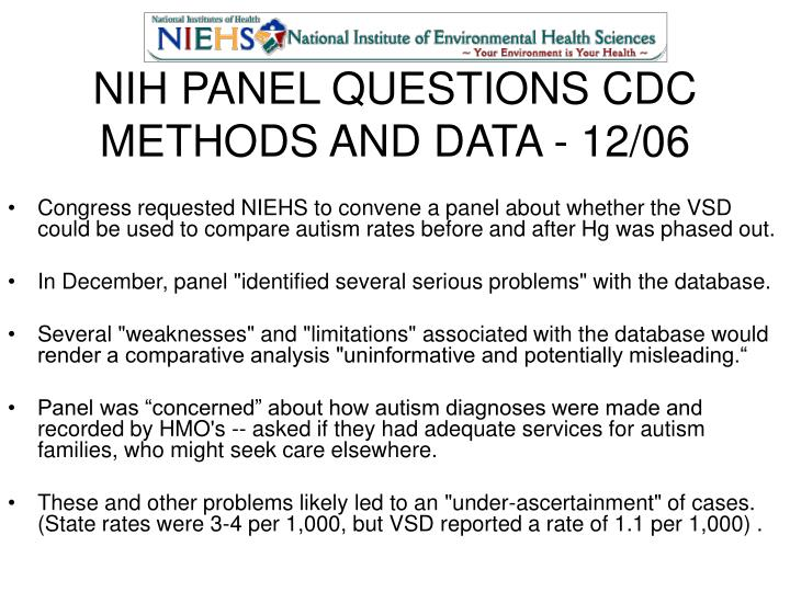 NIH PANEL QUESTIONS CDC METHODS AND DATA - 12/06