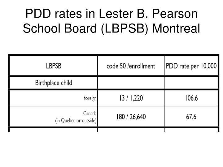 PDD rates in Lester B. Pearson School Board (LBPSB) Montreal