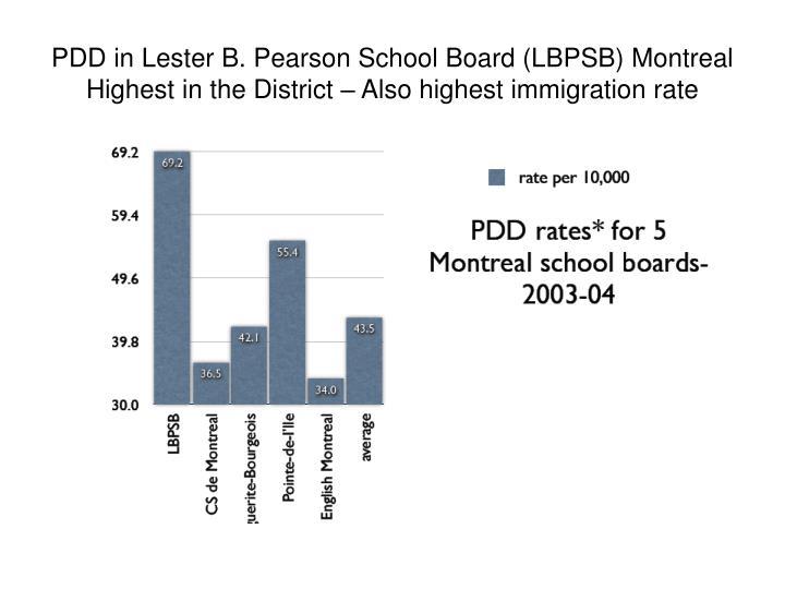PDD in Lester B. Pearson School Board (LBPSB) Montreal