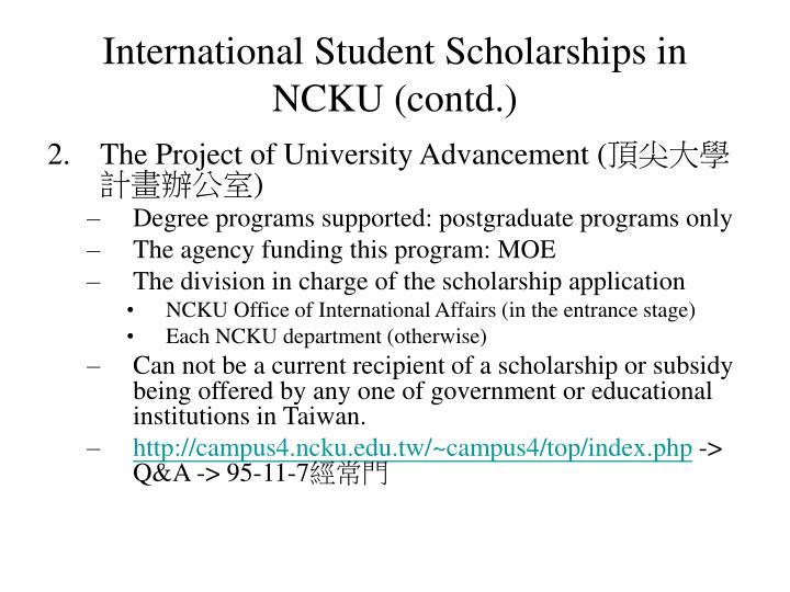 International Student Scholarships in NCKU (contd.)