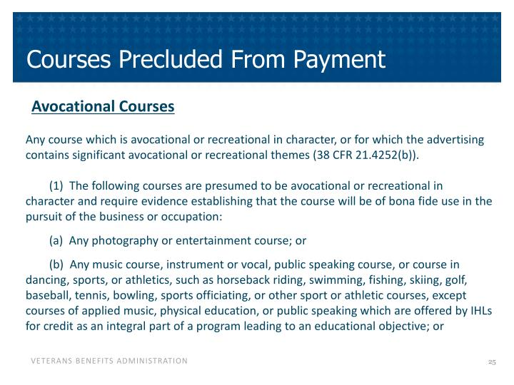 Courses Precluded From Payment