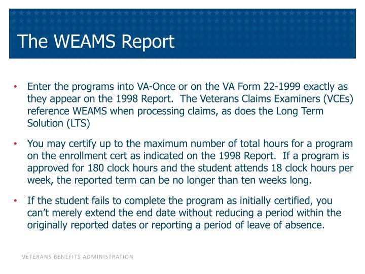 The WEAMS Report