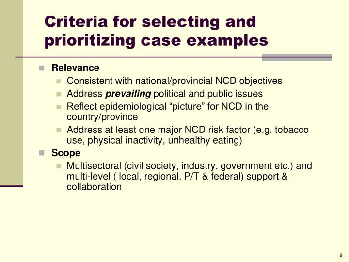 Criteria for selecting and prioritizing case examples