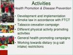 activities health promotion disease prevention
