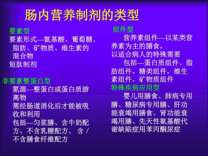 肠内营养制剂的类型