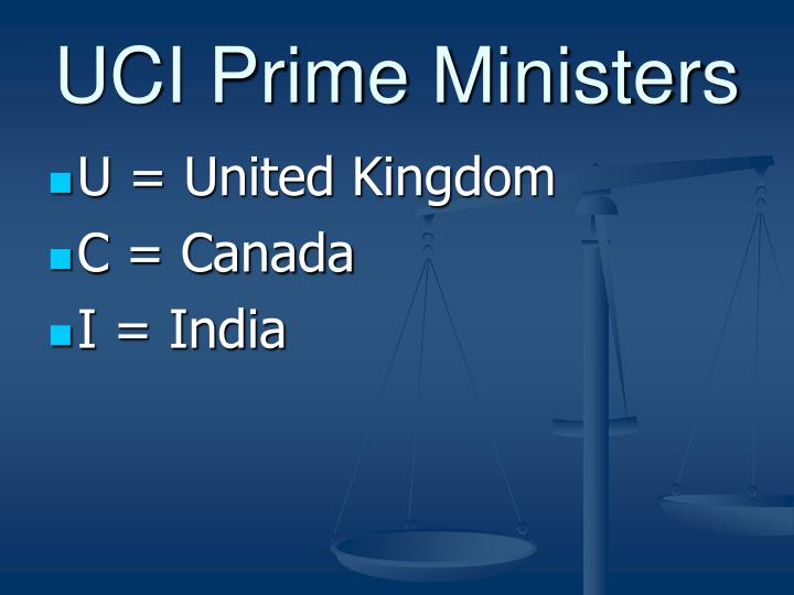UCI Prime Ministers