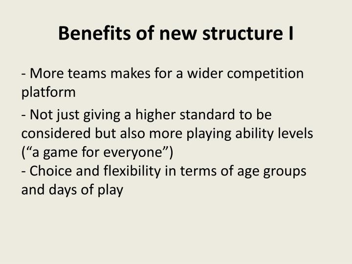 Benefits of new structure I