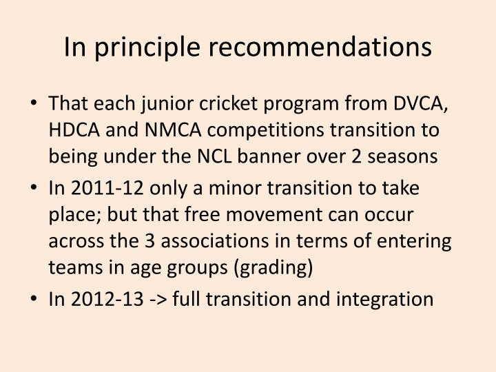 In principle recommendations