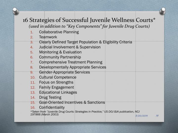 16 Strategies of Successful Juvenile Wellness Courts*