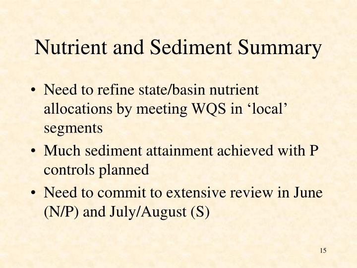 Nutrient and Sediment Summary