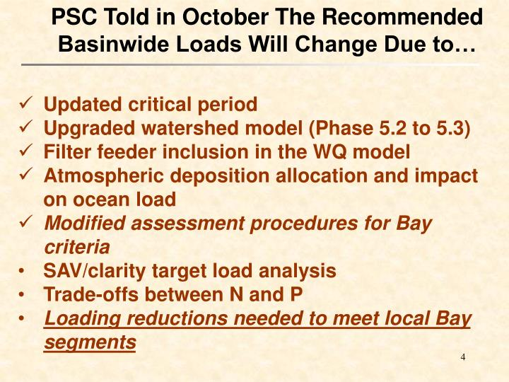 PSC Told in October The Recommended Basinwide Loads Will Change Due to…