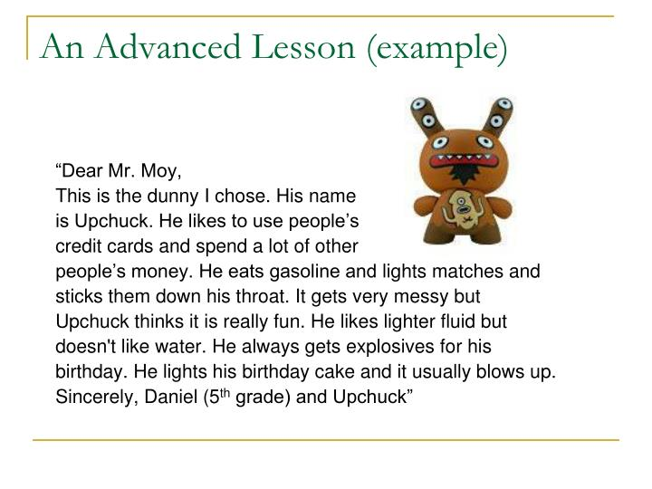 An Advanced Lesson (example)
