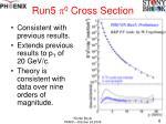 run5 p 0 cross section