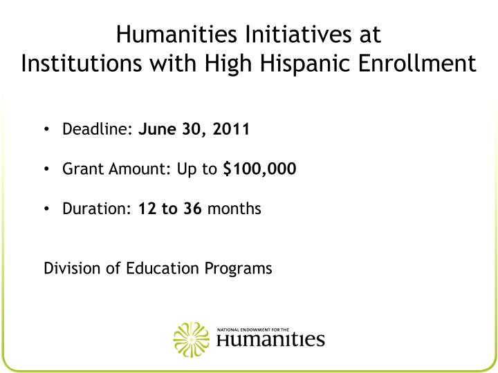 Humanities Initiatives at