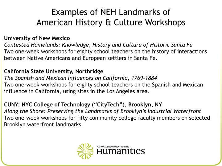 Examples of NEH Landmarks of