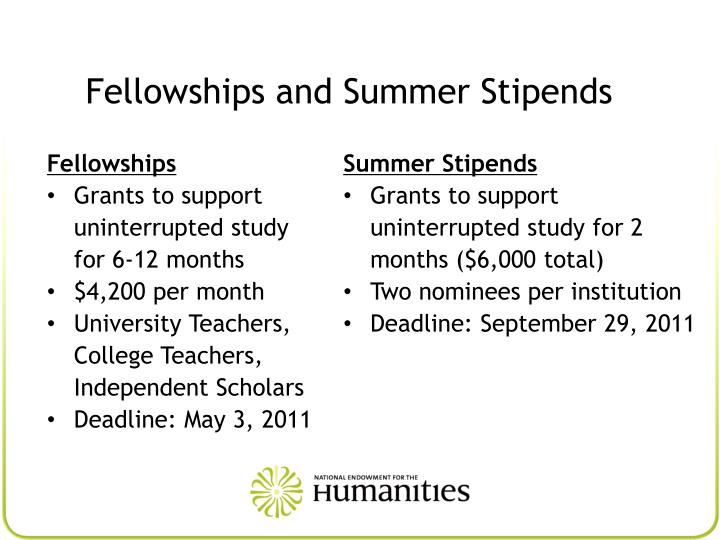 Fellowships and Summer Stipends