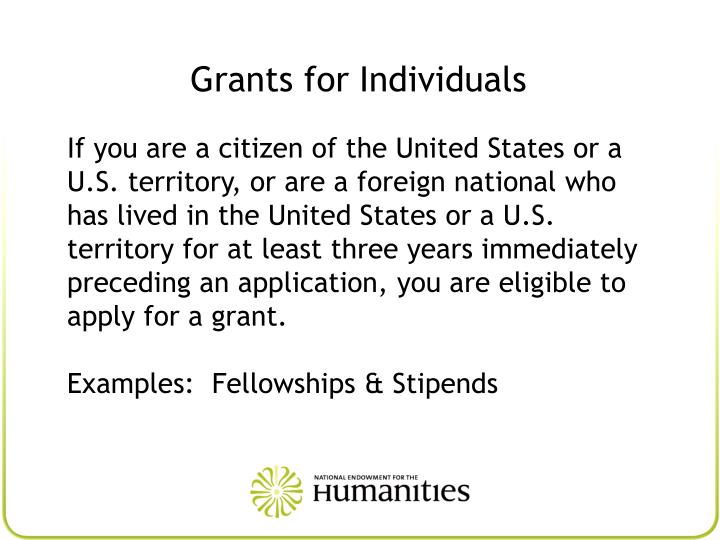 Grants for Individuals