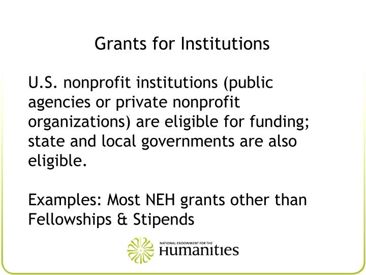Grants for Institutions