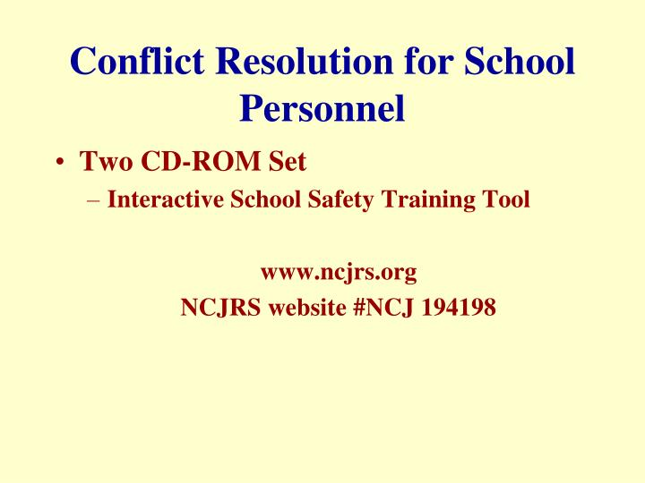 Conflict Resolution for School Personnel