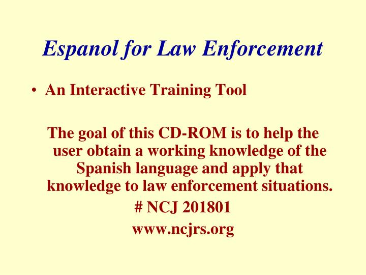 Espanol for Law Enforcement
