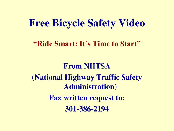Free Bicycle Safety Video