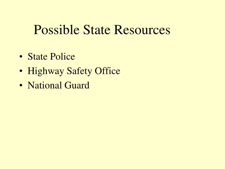 Possible State Resources
