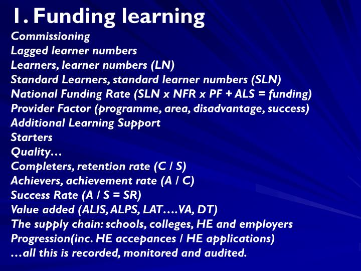 1. Funding learning