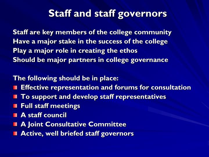 Staff and staff governors